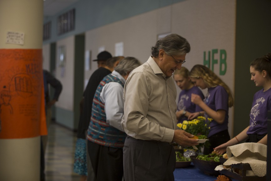 HFB Students serve food to performers at the play. Photo by Aidan Walter