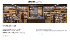 Amazon's info for the new store. While the retailer has been renowned for its online service, their new store's an odd departure from that.